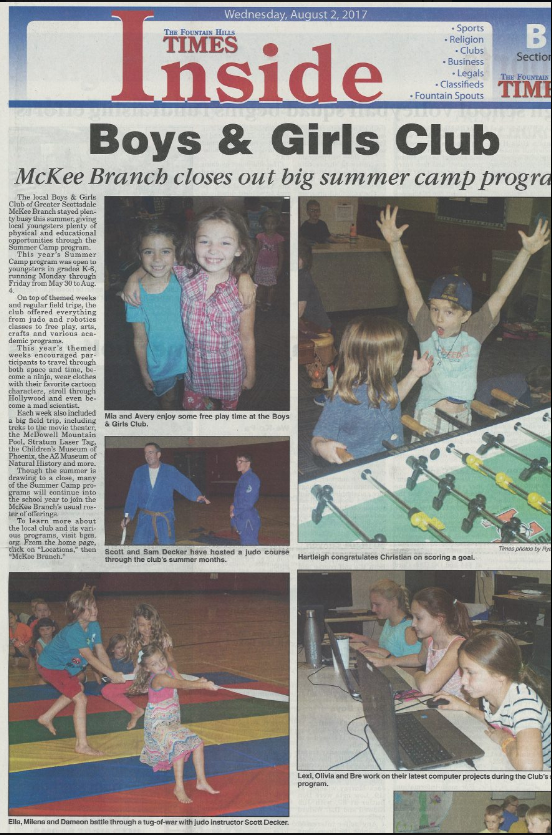 Fountain Hills Times Article Boys and Girls Club Summer Camp Judo with Coach Decker